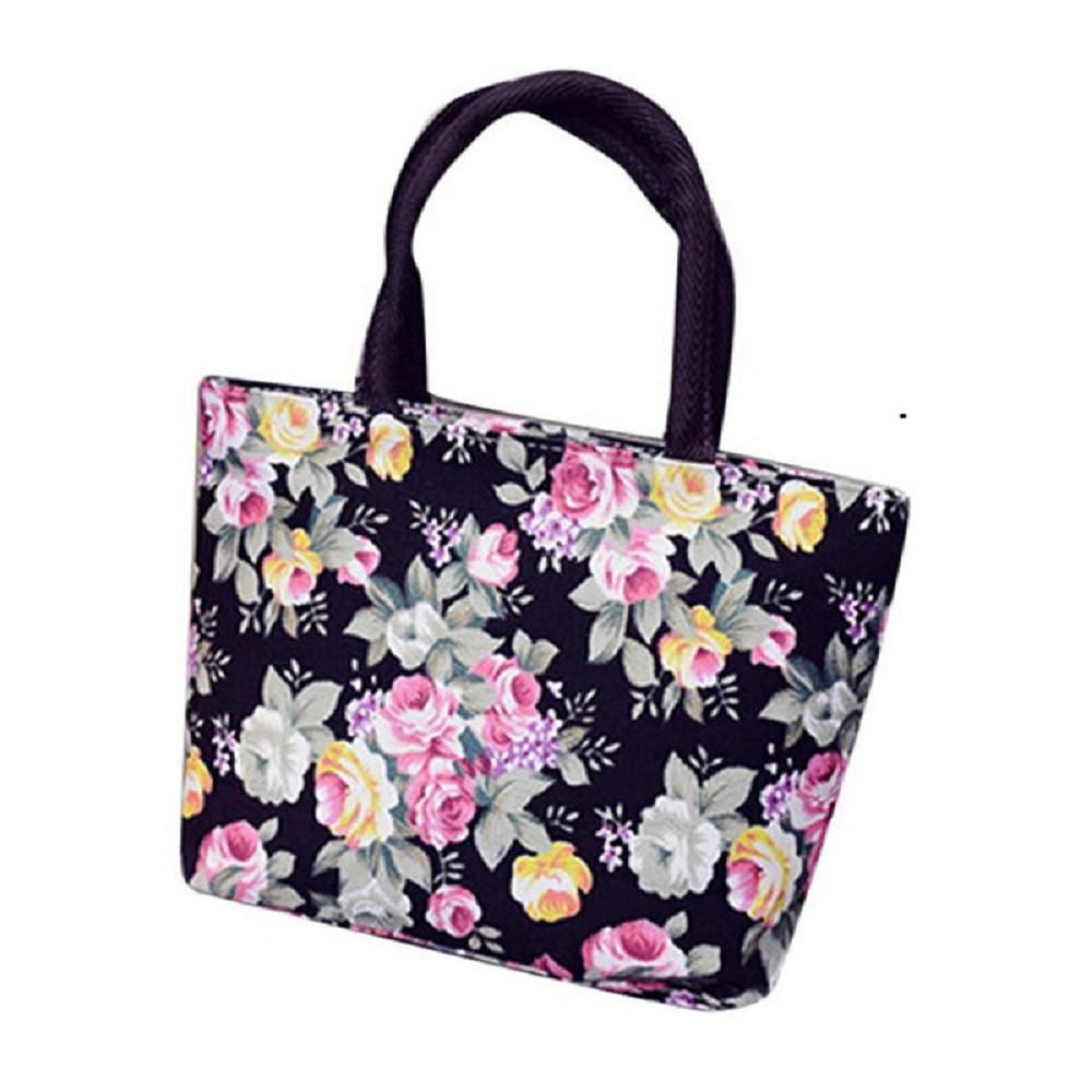 Flower Handbags Tote-Bag Canvas Pretty Printing Shoulder Girls Casual Fashion Women Ladies