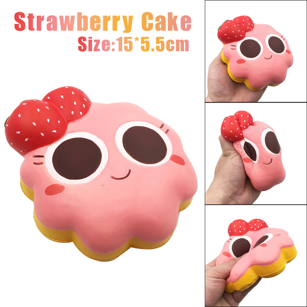 Squishy Toys Jumbo Strawberry Cake Elastic PU Stress Relief AntiStress Squishy Squeeze Toy Scented Poke it Squish it Rub it Gift