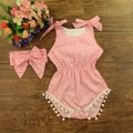 Brand Baby Rompers for Girl Dots Bebe Jumpsuit Headband Set Boutique Baby Buddle Infant Playsuit #P0522