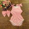 Marca Mamelucos Del Bebé para La Muchacha Dots Bebe Mono Conjunto Diadema Boutique Bebé Infantil Playsuit # P0522 Buddle