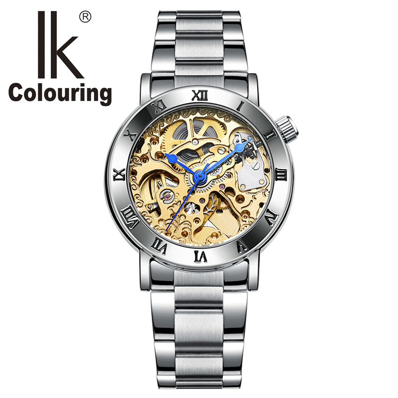 IK Colouring Women Mechanical Watch Roman Lettering Bezel Gold Clouds Engraving Skeleton Automatic Self Wind Ladies Wrist watch ik colouring rose gold case luxury men s skeleton hollow automatic self wind analog water resistant mechanical wrist watch