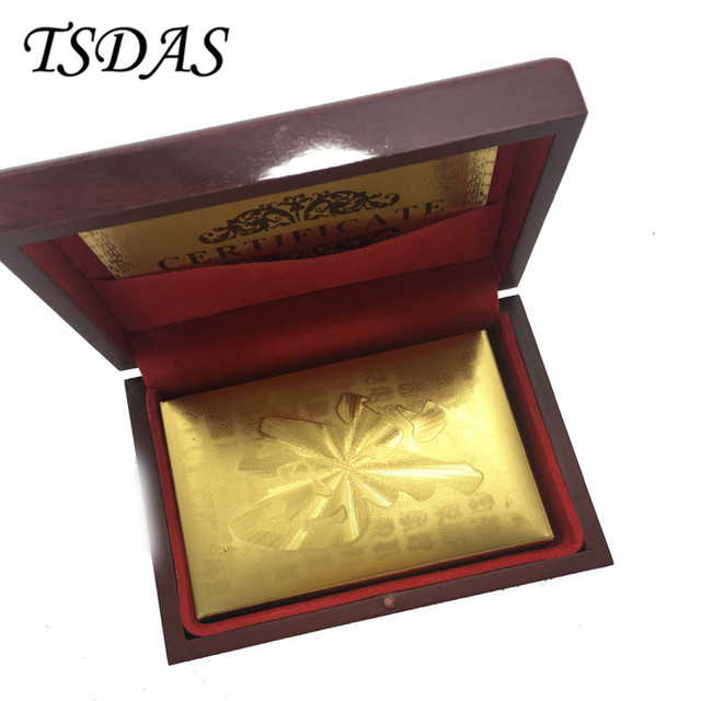 New 24k Carat Gold Foil Plated Playing Cards With Fu Letter Nice Wooden Box