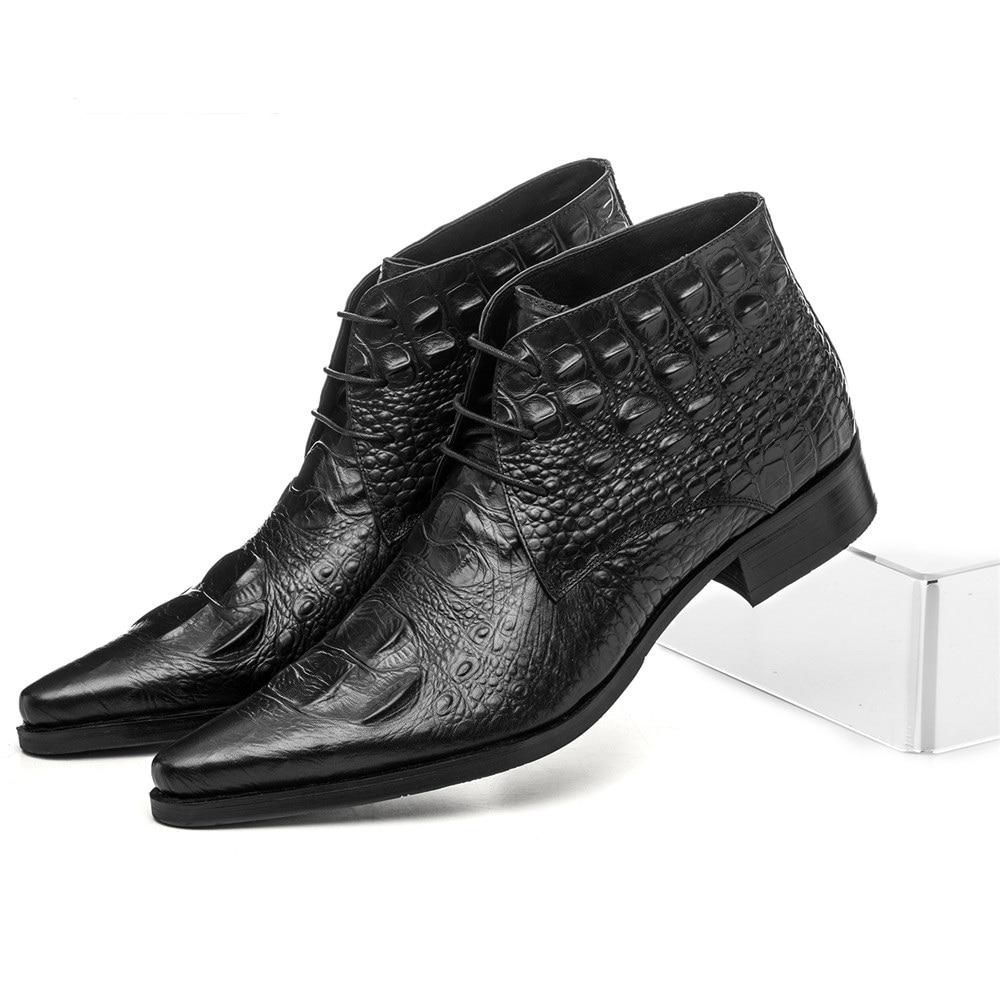 Մեծ չափի EUR45 կոկորդիլոսի հացահատիկային սև / շագանակագույն տոննա հարսանեկան կոշիկներ Տղամարդու կոճ կոշիկներ Բնական կաշվե կոշիկներ Արական գրասենյակային կոշիկներ