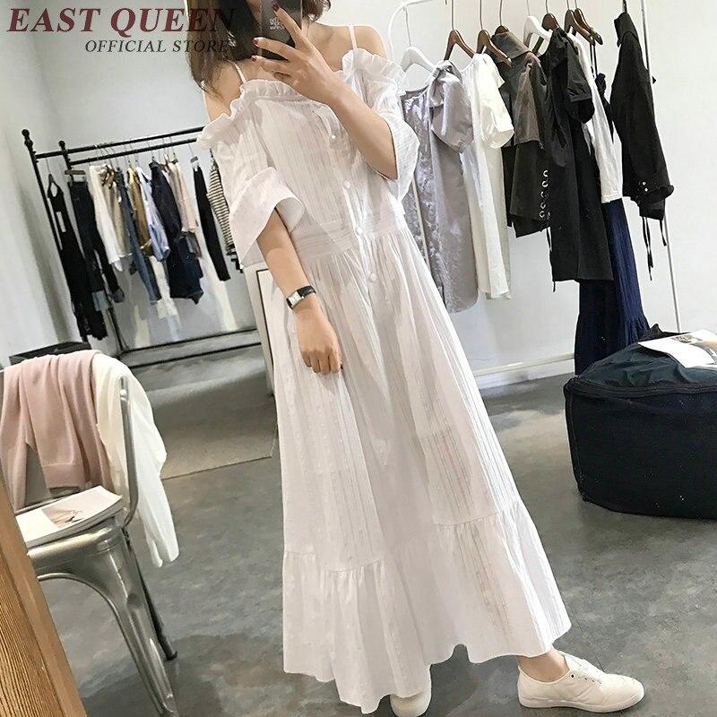 11e8fb247df woman beach dress 2018 summer button front bare shoulder dress long white  cotton summerdress with flounces
