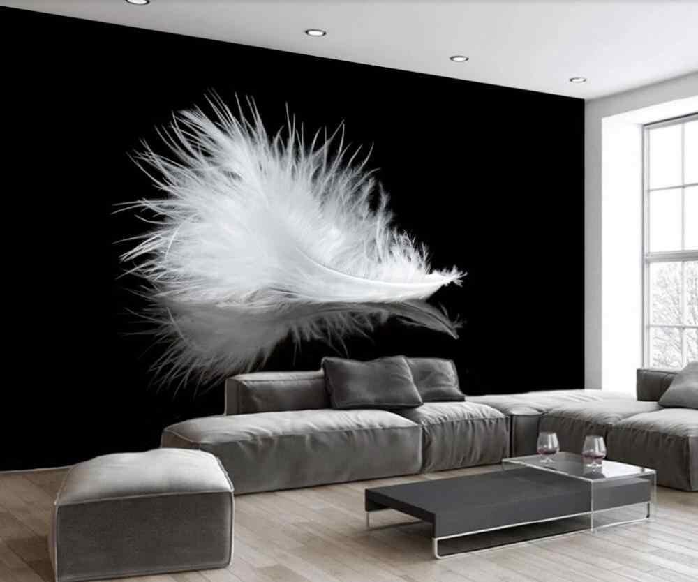 Kustom 3D Mural Wallpaper Modern Sederhana Hitam dan Putih Bulu Latar Belakang Dinding Dekorasi Lukisan