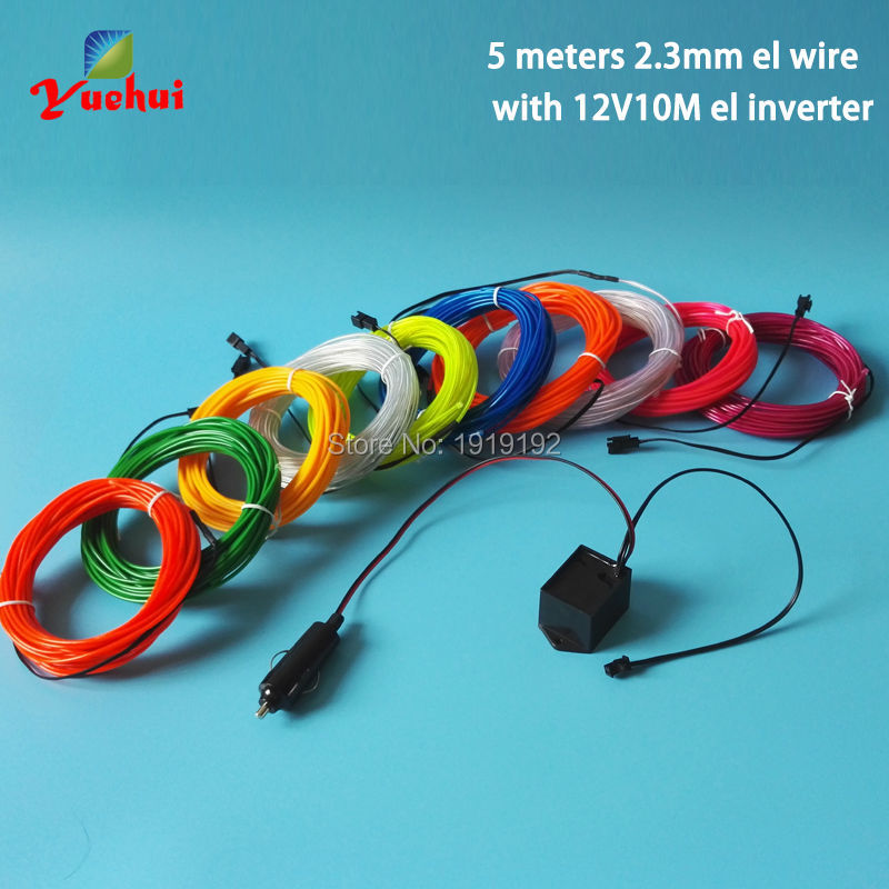 5Meters DC 12V 2.3mm EL Wire Cars motorcycle bike Party Decoration ...