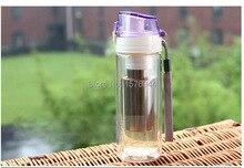 G0146 venta Caliente taza de cristal transparente con tapa creativa portable masculinos señoras taza resistente al calor a prueba de fugas botella de los deportes taza