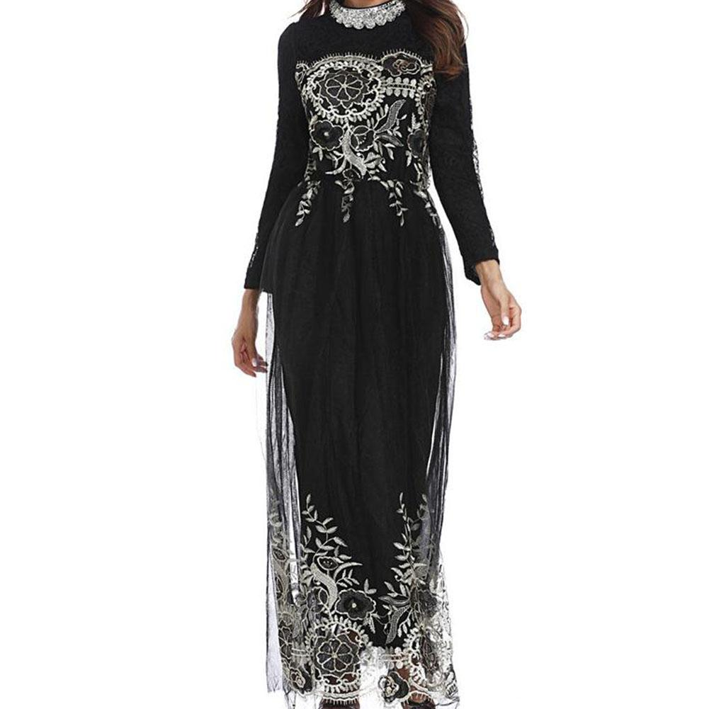 Yfashion Women Muslim Style Embroidery Printing Lace Stitching Gauze Long Dress