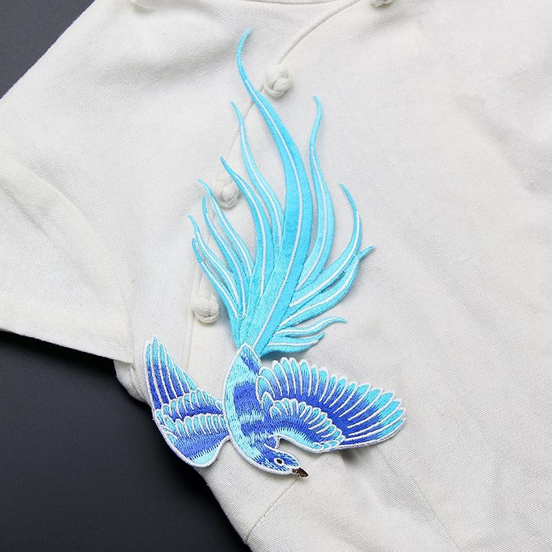 Azul de aves del paraíso parches encaje tela bordado parches adornos ...