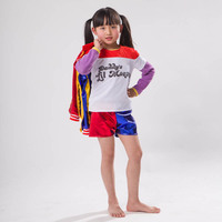 3pcs Harley Quinn Halloween Costume Jacket For Girls Kids Suicide Squad Hair Children Clothes Cosplay Suit