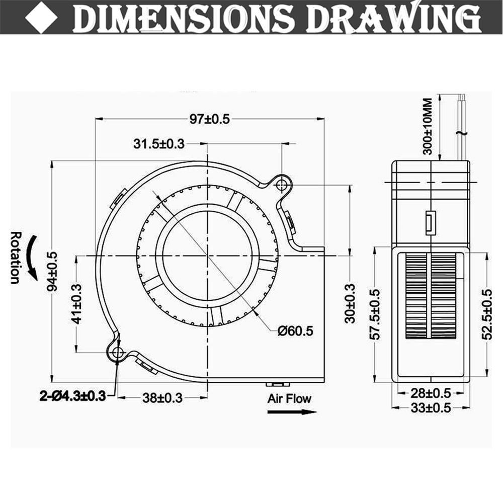Купить с кэшбэком Gdstime DC 9733 12V 24V Blower Fan  97mm 97 x 33mm BBQ Blower Big Air Blower Flow Centrifugal Fan 3600RPM Sleeve/Ball Bearing