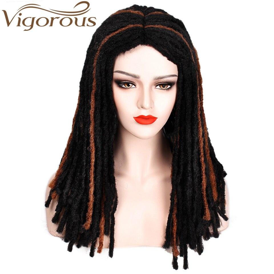 Vigorous  Synthetic Long Dreadlock Hair Wig For Women/Men Faux Locs Crochet Braids Wig Heat Resistant Fiber Mix Color