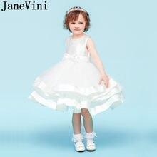 934743e5803f2 JaneVini belle fille blanche robes de fleurs pour les mariages robe de bal  genou longueur perles Pageant robes de Communion robe.