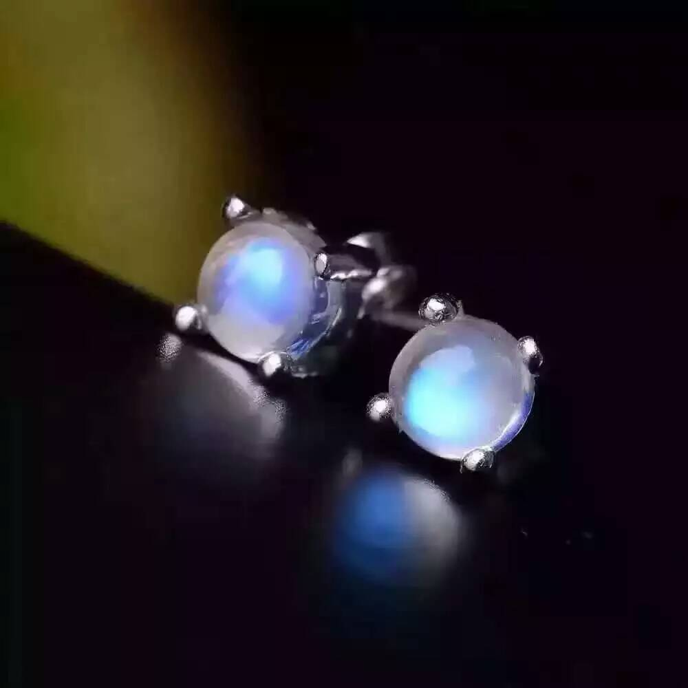 natural moonstone stud earrings 925 silver natural blue gemstone earrings women Classic elegant fashion Earrings jewelry