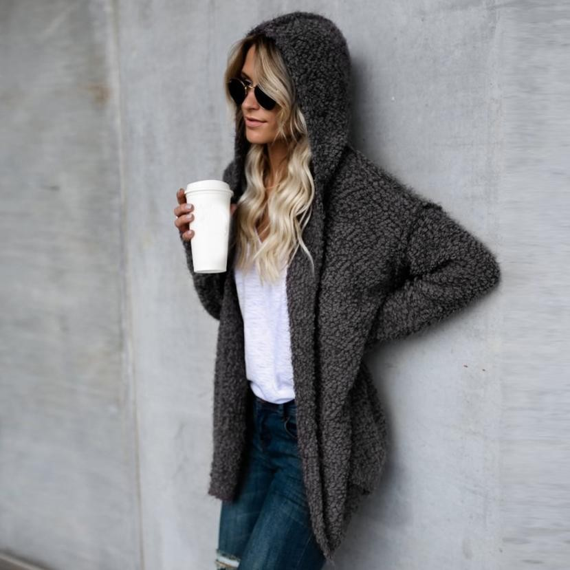 Womens Warm Outerwear Autumn Swerater Coat Winter Ladies Hooded Loose Jackets Casual Woo ...