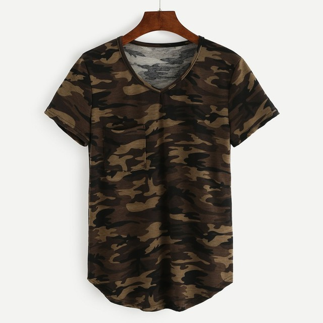 2018 Camouflage Printed Camo T Shirts Women Army Short Sleeves O Neck  Pocket Female T- 6261433fcc0