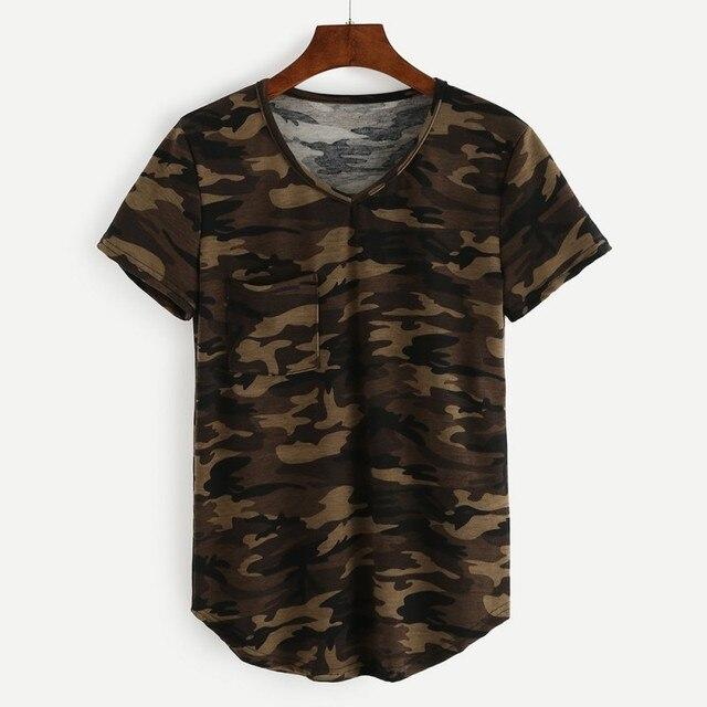 dda386ceb8ccf2 2019 Camouflage Printed Camo T Shirts Women Army Short Sleeves O Neck  Pocket Female T-