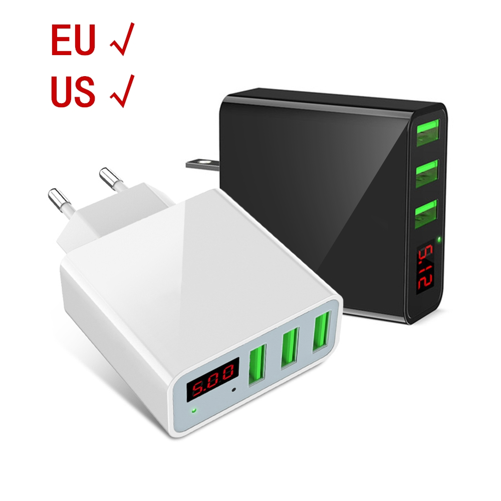 Fast USB Charger Universal Mobile Phone Charger for Samsung Xiaomi Huawei iphone Charger Adapter Tablet LED display EU US charge