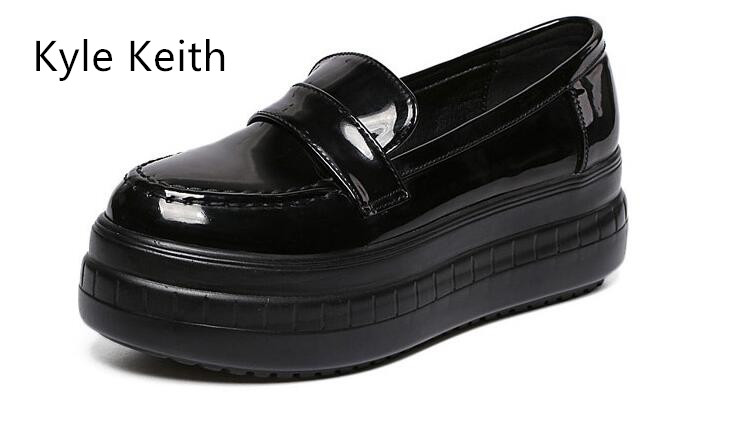 Kyle Keith Summer Spring  Women Shoes Patent Leather Platform Shoes Woman Loafers Casual Flat Round Toe Single Shoes