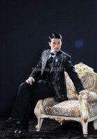 Hải quân Trắng Thêu của Người Đàn Ông Phù Hợp Với Bán Buôn Siêu Groom Wedding Tuxedo Best Man Rễ Phụ Lang Quân Áo + Quần + Tie + Vest