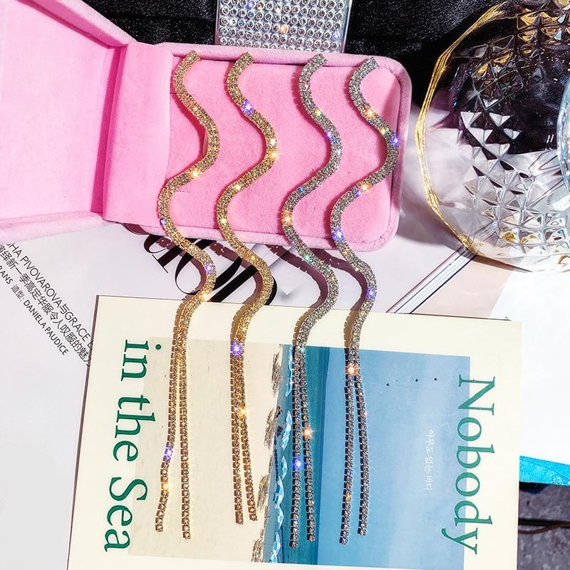 DREJEW Long Tassel Gold Silver Chain Crystal Statement Earrings 2019 925 Drop Earrings for Women Wedding Fashion Jewelry HE3341 in Drop Earrings from Jewelry Accessories