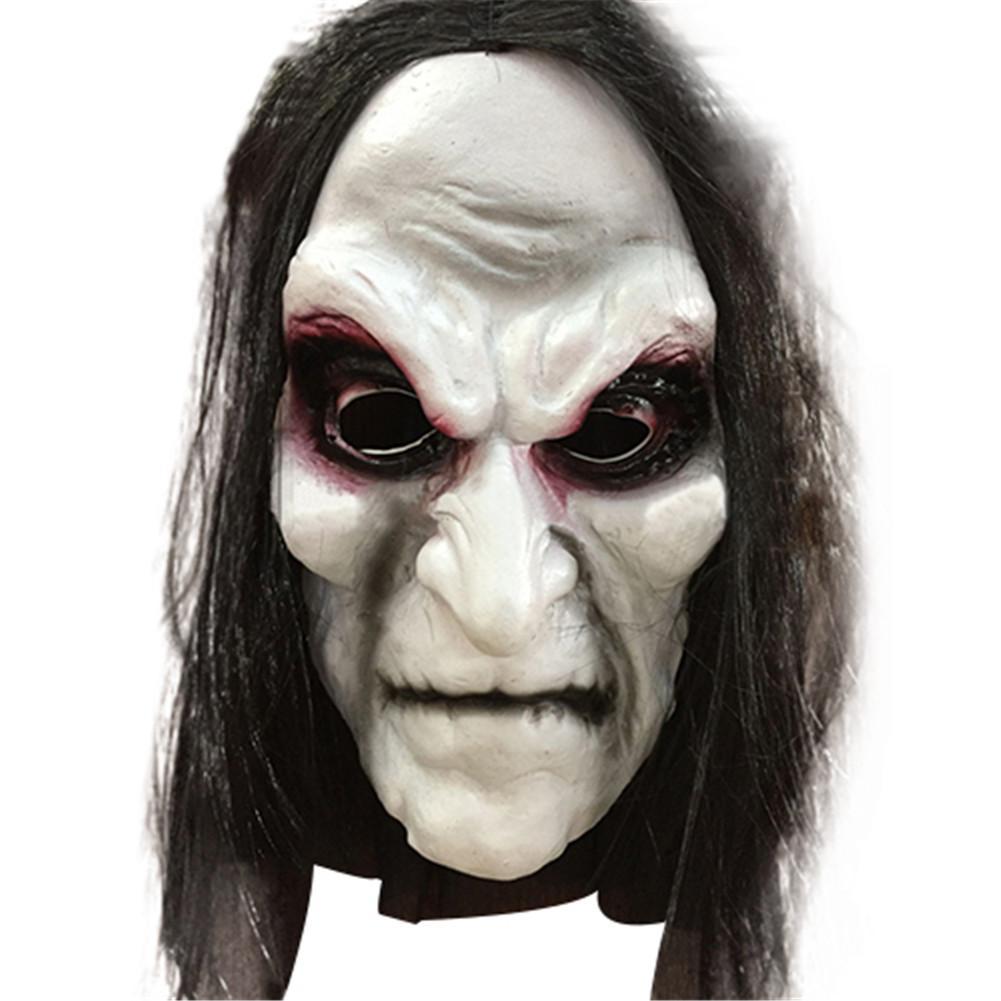 Halloween Cosplay Mask Horror Grimace Ghost Mask White hair latex bleeding Face