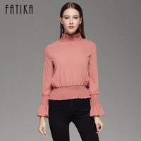 FATIKA 2017 Autumn Fashion Blouse Tops Women Butterfly Sleeve Sexy Slim Waist High Necked Chiffon Blouses