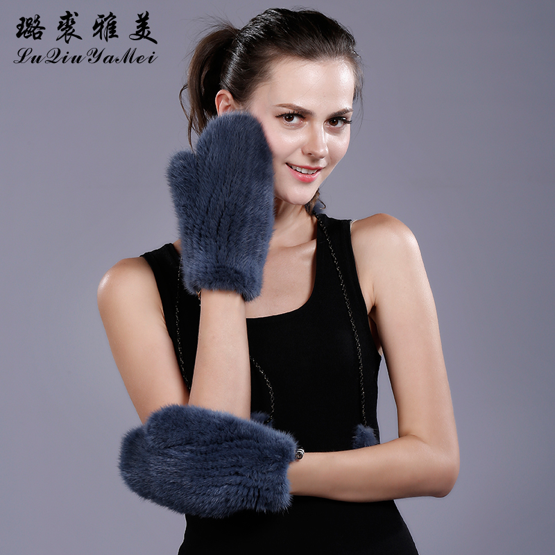 Real Mink Fur Gloves&Mittens for Women Winter 2017 Luxury Glove Sollid Color Knitting Natural Mink Fur Gloves Russian Female