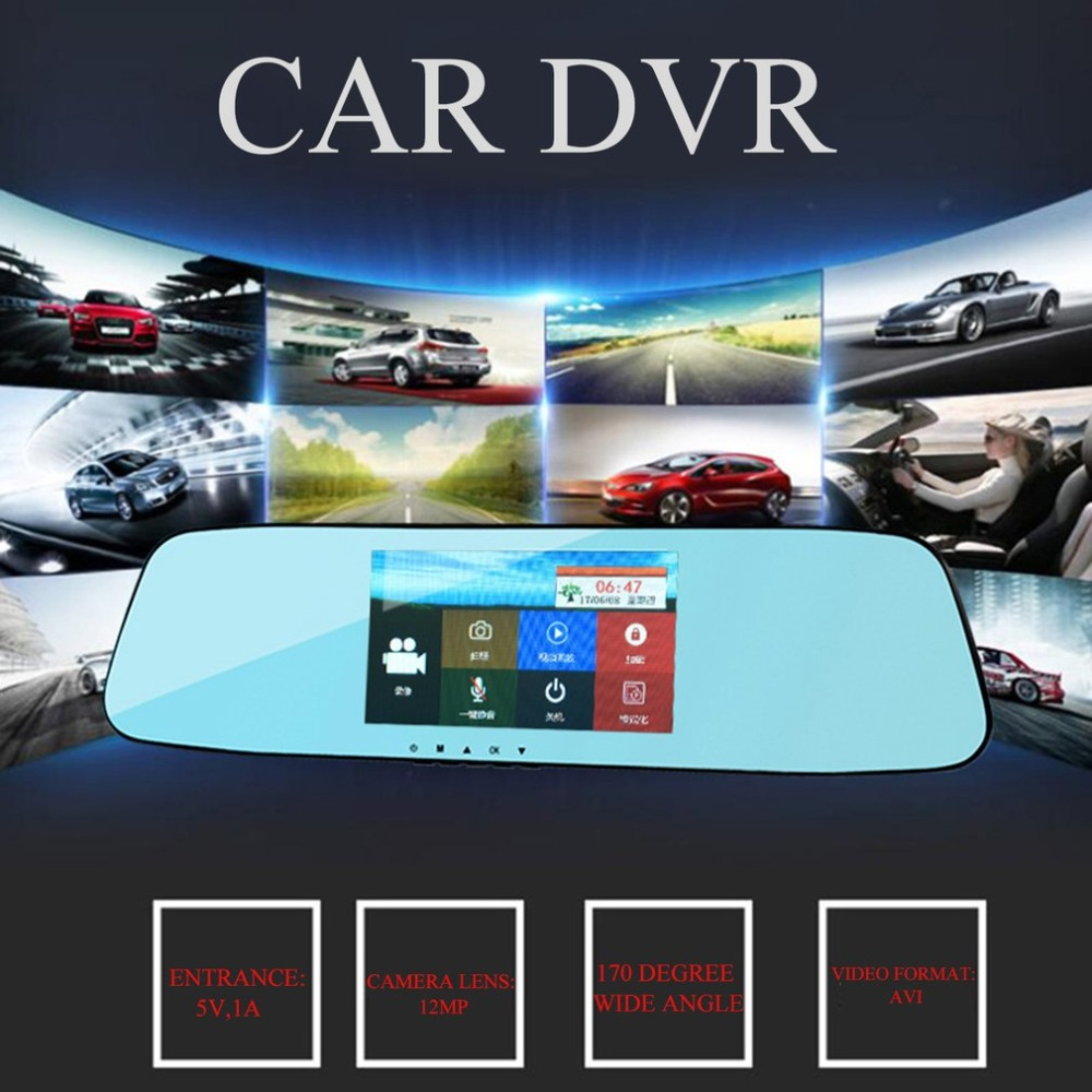 цена 7.0 Inches Touch Screen Car DVR Camera Starlight Night Vision Dual Lens Rear View Mirror DVR 1080P Video Recorder