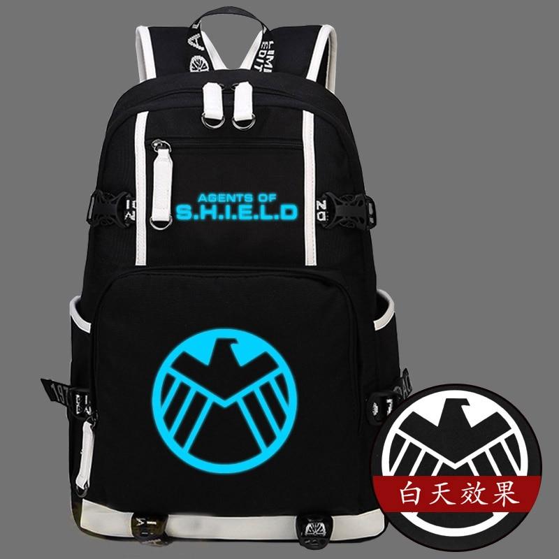 Hot Agents of S.H.I.E.L.D. Backpack Canvas Bag Captain America Luminous Schoolbag Travel Bags