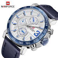 NAVIFORCE Men Watch Top Brand Army Military Sport Watches Mens Casual Leather Date Analog 24 Hour Quartz Clock Relogio Masculio