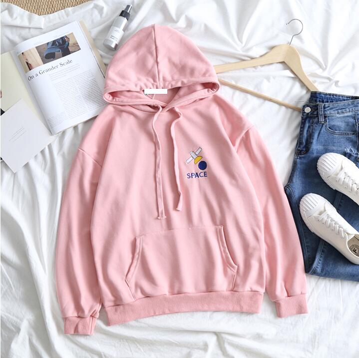 Cute Letter Pattern Embroidered Hooded Sweatshirt