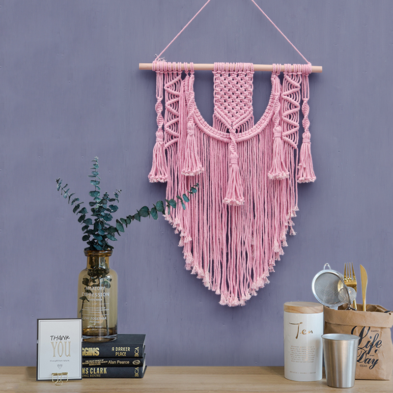 2018 INS macrame Wall Hanging Pink Tapestry Macrame ...