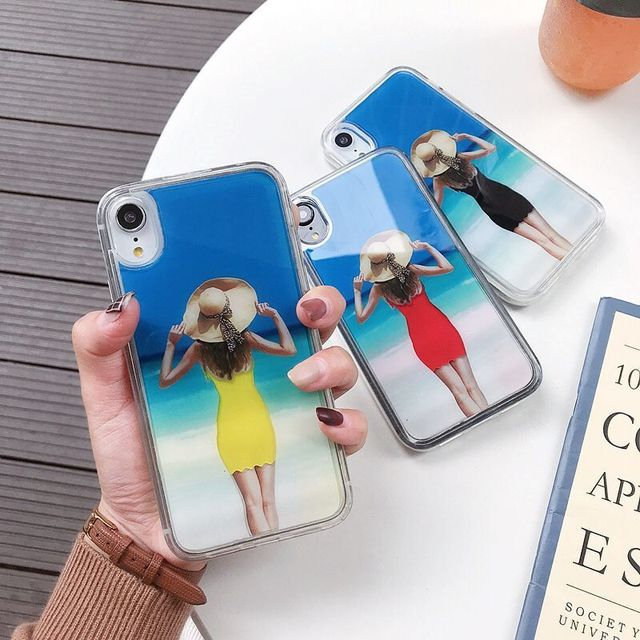 US $4 42 |Funny Dynamic Change Clothes Pattern Case For iPhone 7 8 Plus X  XS Max Glitter Liquid Quicksand Back Cover Sexy Girl Phone Cases-in Fitted