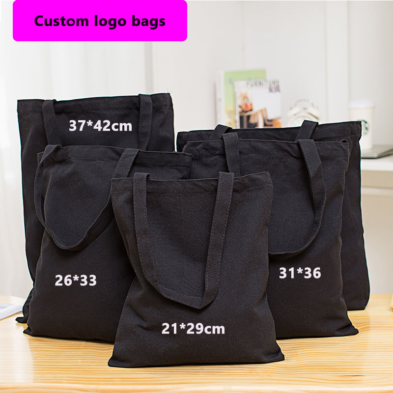Wholesale 200pcs lot Eco Reusable Black Cotton Canvas Shopping Tote Bags Natural Fabric Grocery Recyclable Fashion