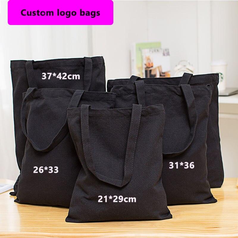 Venta al por mayor 200 unids/lote Eco reutilizable negro lona de algodón bolsa de compras bolsas de tela Natural de reciclable de diseño de moda bolsas-in Bolsas para compras from Maletas y bolsas    1