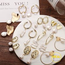17KM Vintage Gold Drop Earrings For Women 2019 Brincos Geometric Drop Earring Big DIY Wedding Irregular Freshwater Pearl Jewelry(China)