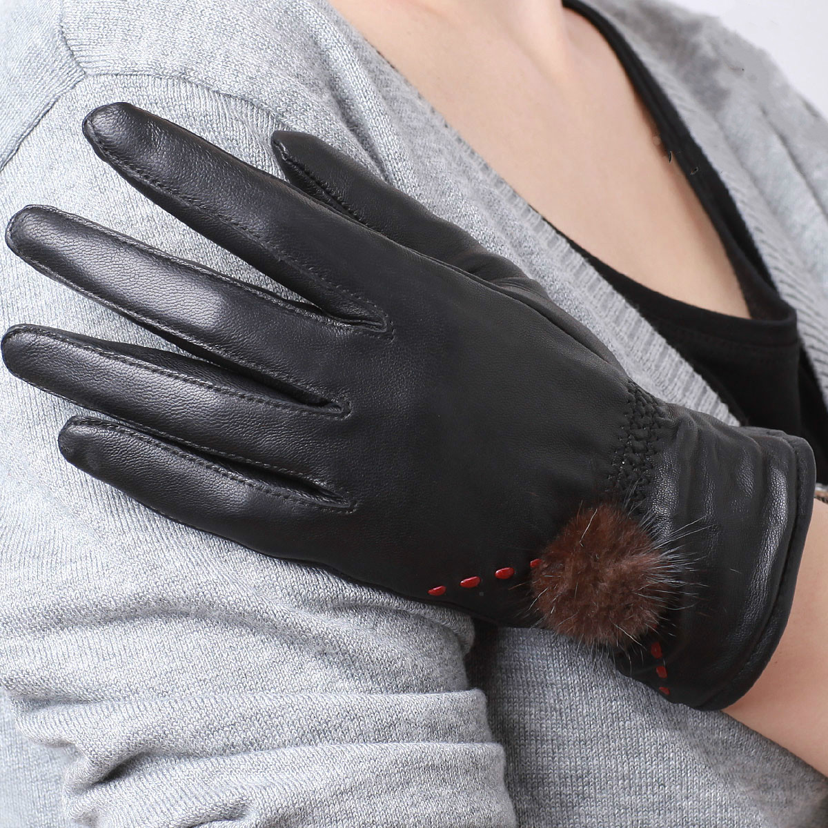 Ladies leather cycling gloves - Ladies Genuine Leather Gloves Fur Sheepskin Gloves Outdoor Cycling Gloves Winter Women Fashion Gloves Black 2
