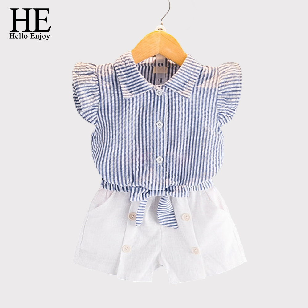 HE Hello Enjoy Girls Clothes Kids Summer Casual Girls Sets Sleeveless Stripe Bowknot Shirt +Shorts Suits Children Clothing 2018