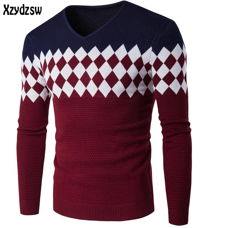 2016 Winter Sweater Men Casual Men Sweaters V-Neck Knitwear Cotton Pullover Slim Skinny Fit Pull Homme Outwear Sweater For Men