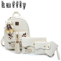 Fashion Embroidery Backpack Women Pu Leather Back Pack Famous Brand School Bags For Girls Sac A
