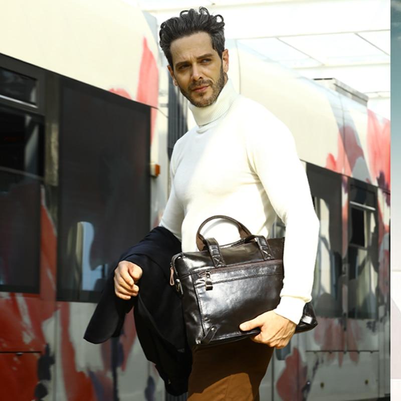 Bagaj ve Çantalar'ten Üstten Saplı Çanta'de WESTAL Evrak Çantası Erkek deri çantalar Hakiki Deri Laptop Crossbody Çanta Erkekler Için Messenger omuzdan askili çanta Iş 9103'da  Grup 2