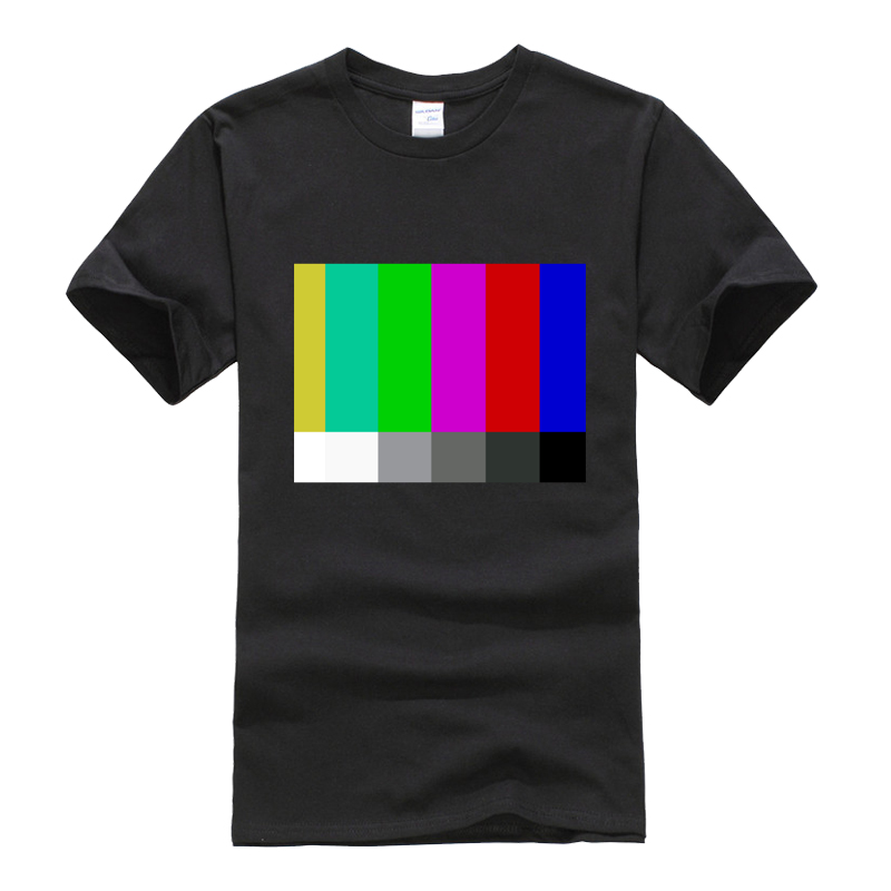 New Tops 2017 Print Letters Men T Shirt Gildan SMPTE Standard Definition Television Color Bars EG Light Tshirt For