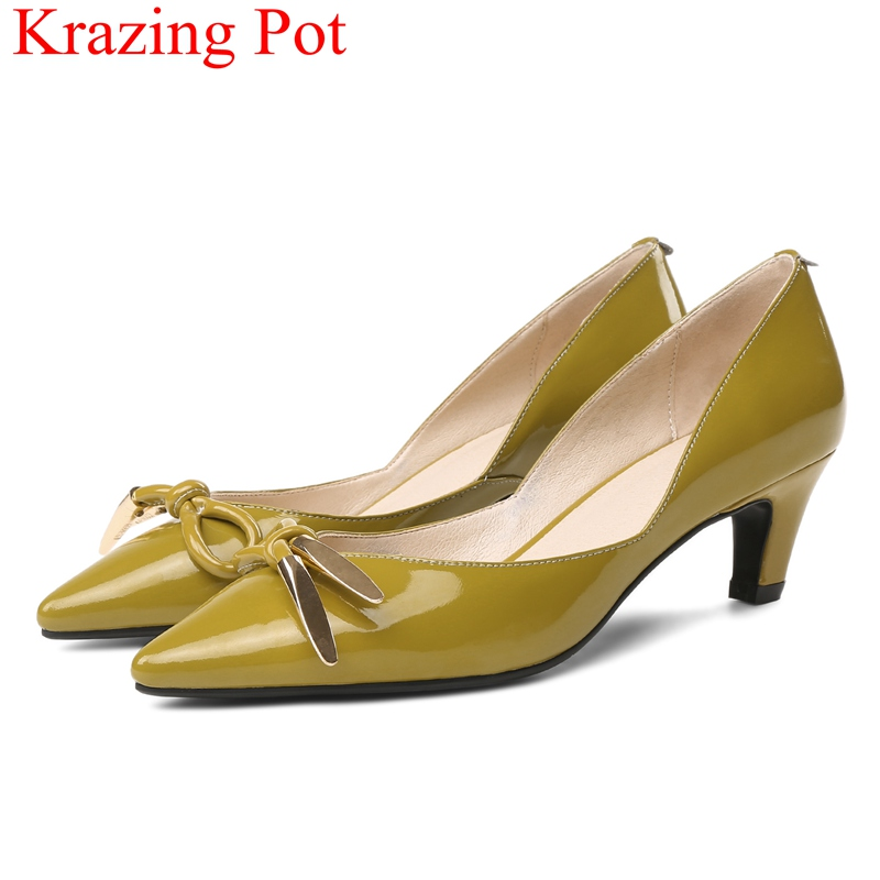 2018 superstar pointed toe large size shallow high heels women pumps cow leather elegant slip on butterfly-knot work shoes L0f3