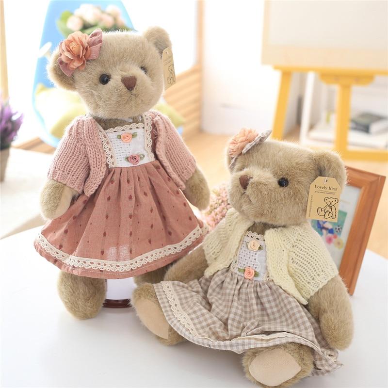 High Quality Super Cute Couple Teddy Bears in Skirt Plush Toys Stuffed Dolls 1 Pair 35cm