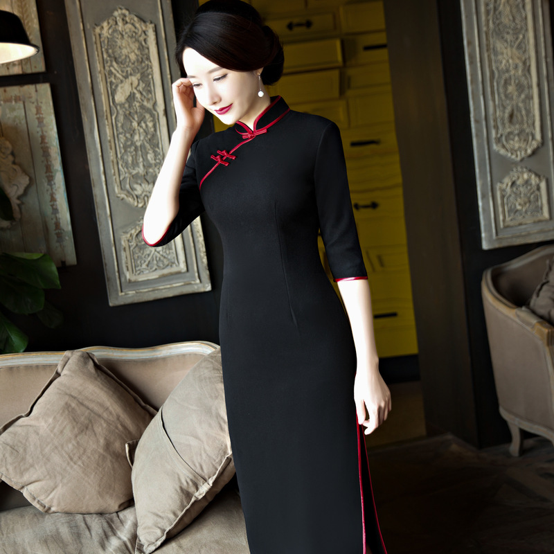 New Arrival Chinese Women's Traditional Long Dress Wool Long Slim Cheongsam Summer Sexy Qipao Flower Size S M L XL XXL B013