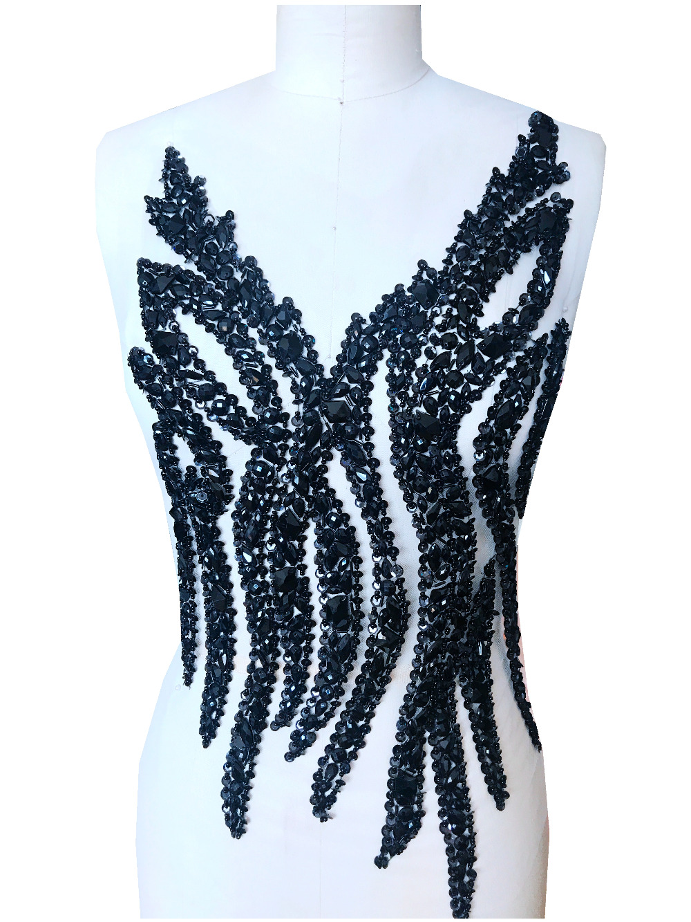 Sequin Applique Exquisite Handmade Sew on Rhinestone Applique Beaded Applique By The Piece Prom Dress Patch Applique
