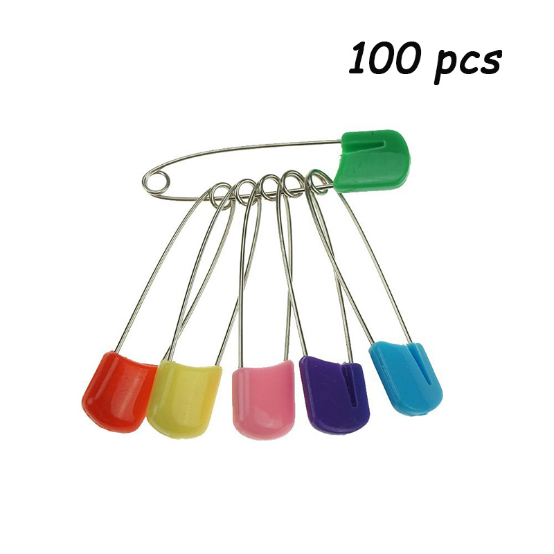 100 pcs Large Strong Safety Pins Baby Child Infant Kids Plastic Head Colorful Safety Head Pins Locking Pin Brooch Buckles