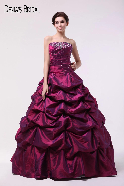 US $20.20 20 Weinrot Taft Ballkleid Abendkleider mit Trägerlosen  Ausschnitt Rüschen Perlen Bodenlangen Partei Abschlussball kleiderball  gown