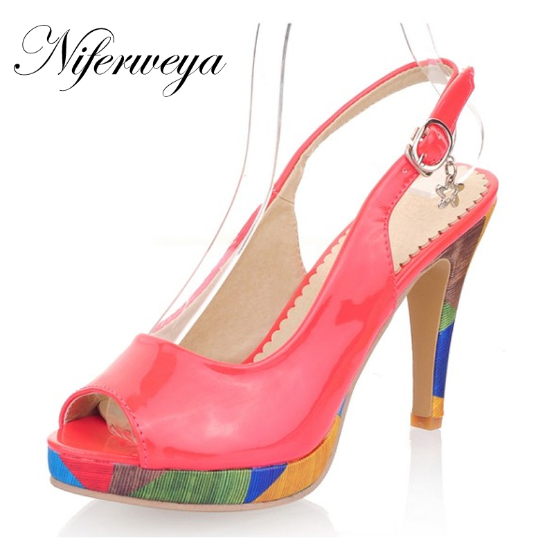 5 Color Fashion Senior PU leather summer women shoes Big size 32-43 Peep Toe Platform high heels Sweet style sandals AYY-A-5 hot sale big size 31 43 fashion women shoes solid pu leather sweet bowknot decoration high heels small size 31 32 33 chd d21